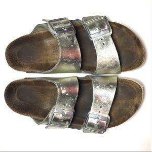 Birkenstock silver leather Arizona sandal